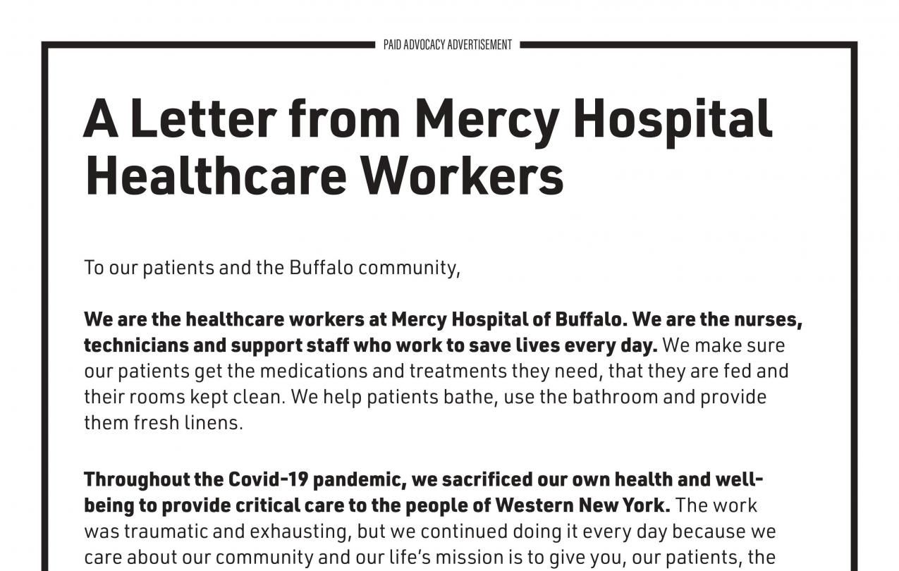 Letter from Mercy Hospital Workers to the Community