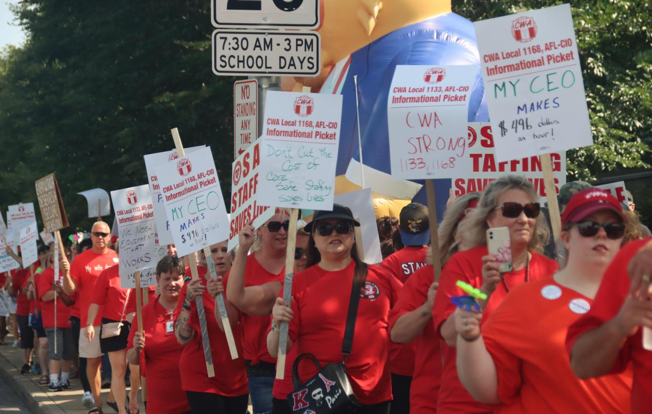 CWA members at picket at Mercy Hospital for a fair contract