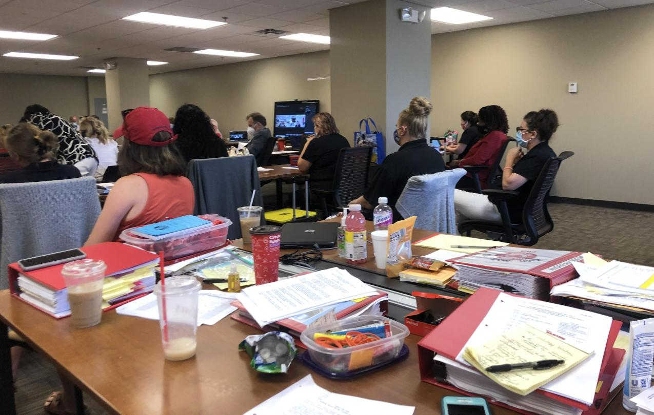 CWA members at bargaining session with Catholic Health Systems