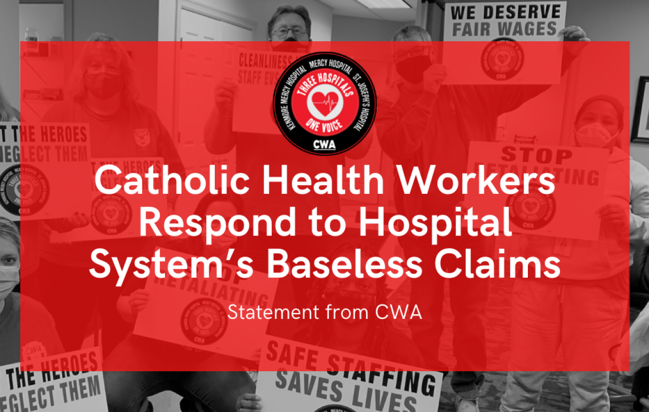 Graphic for statement responding to baseless Catholic Health claims