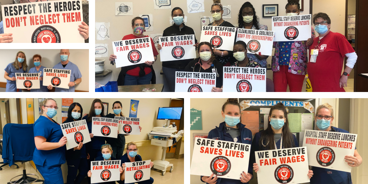 collage of pictures of CWA members holding signs at Catholic Health hospitals